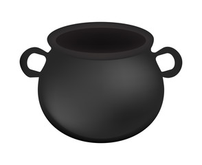Empty witch cauldron,pot. Realistic Vector illustration isolated on white background. Created with gradient mesh.
