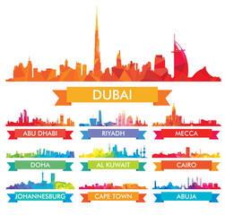 Colorful сity skyline The Arabian Peninsula and Africa