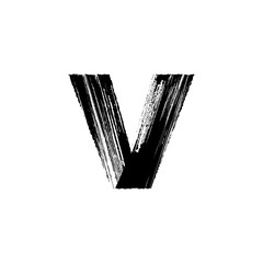 Letter v hand drawn with dry brush. Lowercase