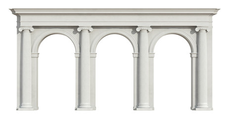 Ionic colonnade on white Fototapete