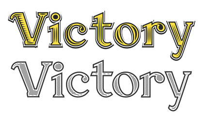 Tattoo engraving word Victory