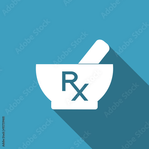 Vector Mortar And Pestle With Rx Prescription Sign Pharmacy