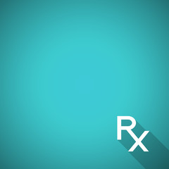 Pharmacy background with Rx sign - prescription symbol. Pharmacy design with Rx. Flat style vector illustration. Blank template. Pharmacy symbol.