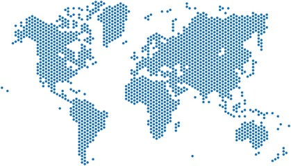 Stores à enrouleur Carte du monde Dots world map on white background, vector illustration.