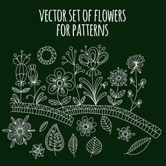 Vector set of doodle flowers.