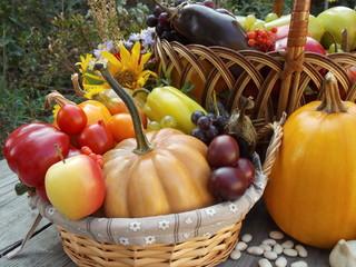 Полные корзины с урожаем, тыквой, фасолью и чесноком на столе