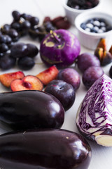 Purple vegetables and fruit