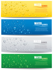 water drops with place for text on different color backgrounds
