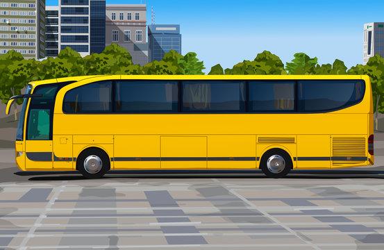 Yellow bus on city street