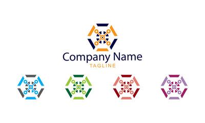 Technology Logo Vector - Hexagonal Drone Technology Design