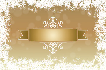 Elegant shiny golden winter holidays greeting card background with empty label in the middle, framed with white snowflakes.