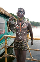The statue of the dark-skinned native