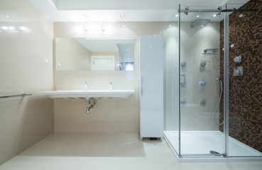 Interior of a modern bathroom with shower cabin