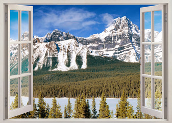 Open window view to Canadian Rockies Mountains
