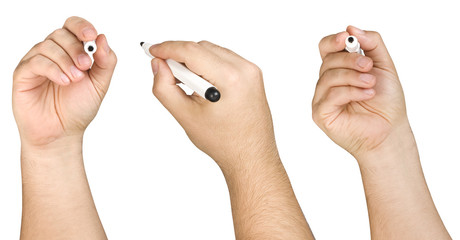 Collection of male hand holding black felt tip or marker in three different poses isolated