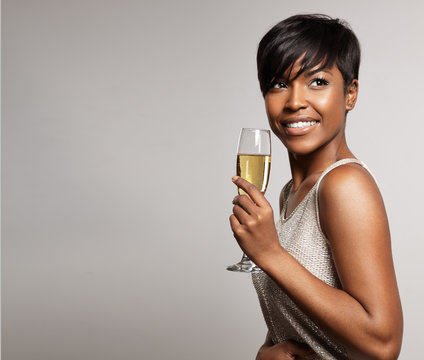 woman with a glass of champagne.