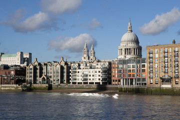 The View from the south bank, across the River Thames with commercial skyscrapers dominating the Financial District skyline