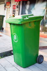 Green recycle Trashcan in Asia