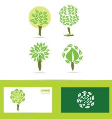 Green tree logo icon set
