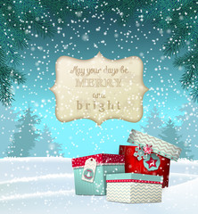 Cristmas greeting card with gift boxes in snowdrift, winter