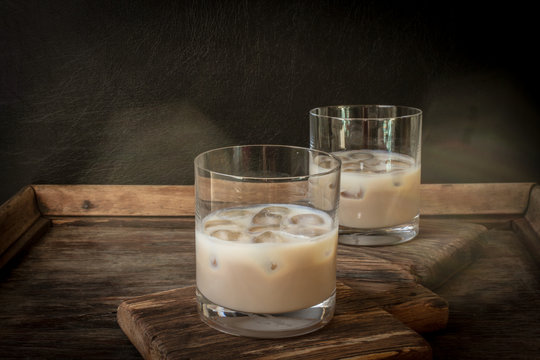Irish cream liqueur in a glass with ice.