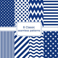 Set of 8 classic seamless patterns