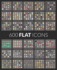 Large icons set, 600 vector pictogram of flat colored