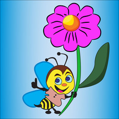 insects, flower, bee, daisy, animals, springtime, sky, nature, honey, yellow, copy, summer, blue,