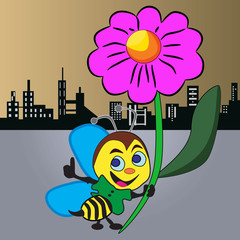 insects, cartoons, flower, urban, bee, flying, animals, silhouette, city,