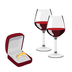 Jewellery box with ring and wineglasses