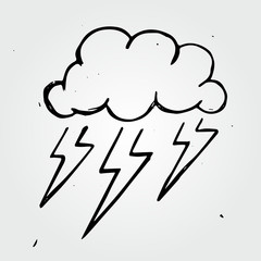 Vector storm cloud, hand drawn