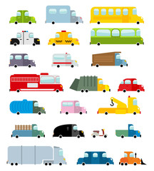 Car set cartoon style. Big transport icons collection. Ground se