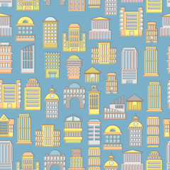 Megapolis seamless pattern. Background of  buildings city. Munic