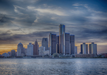 Detroit skyline at sunset