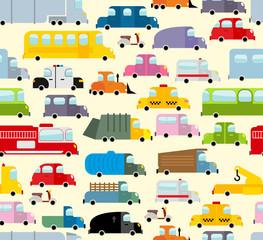 Cartoon car pattern. City traffic jam. Diverse ground Transoprt.
