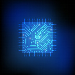 Vector : Square chip and electronic circuit on blue background