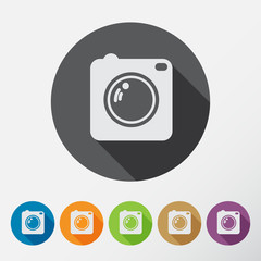 Camera icons set with long shadow. Flat style.