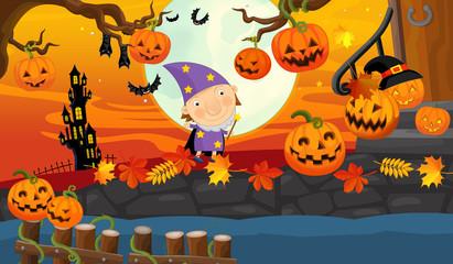 Cartoon halloween scene - illustration for the children