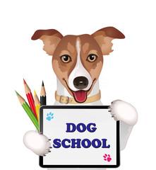 Dog school advertising  Vector illustration isolated on white background