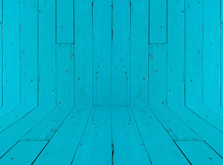 Old Wood Background , wall and floor color blue
