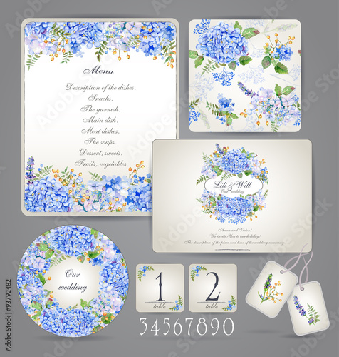 Set Of Templates For Celebration Wedding Blue Flowers Watercolor