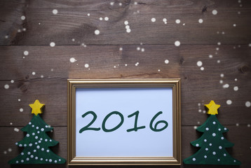 Picture Frame With Christmas Tree, 2016 And Snowflakes
