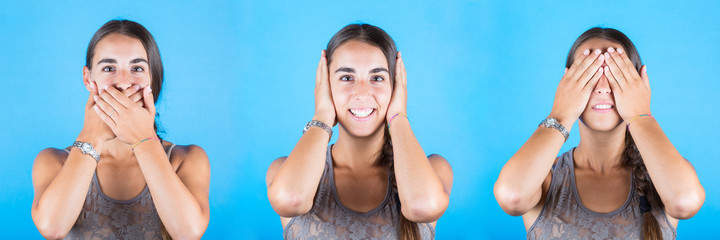 Young woman covering eyes, ears and mouth with her hands