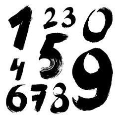 Black handwritten numbers on white background. Acrylic colors.