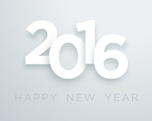 2016 Happy New Year White Vector With 3d Drop Shadow Design 2