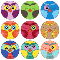 Nine cute owl faces in circle shapes