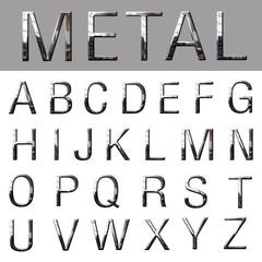 3d of metallic alphabet font
