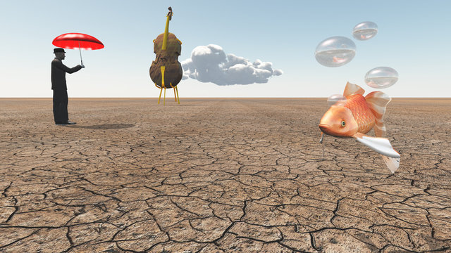 Man and oversized cello with floating fish in desert