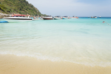 Summer beach and speed boat for relax