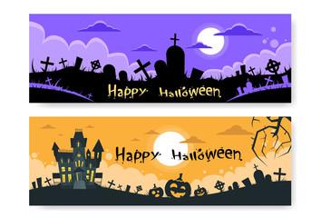 Halloween House Cemetery Graveyard Card Pumpkin Face Banner Flat
